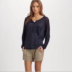 VINCE Navy Blue Drapery Rayon Henley top
